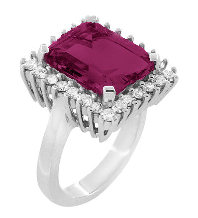 Emerald Cut Rubellite Tourmaline Ballerina Ring with Diamonds in 18 Karat White Gold - Item: R1176WRG - Image: 1
