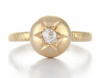 Antique Victorian Engagement Ring with Rose Cut Diamond in 18K Yellow Gold | Circa 1856