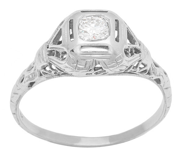 Heirloom Edwardian Vintage High Dome Diamond Filigree Ring 18K White Gold - R1182