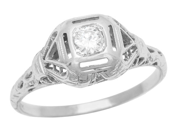 Edwardian Filigree High Dome Diamond Vintage Engagement Ring - R1182
