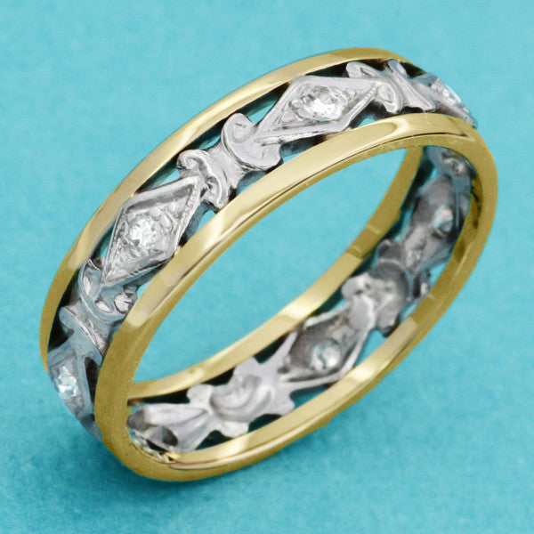Antique Edwardian Diamond Wedding Band in Platinum and 14K Yellow Gold - Size 8 - Item: R1183 - Image: 2