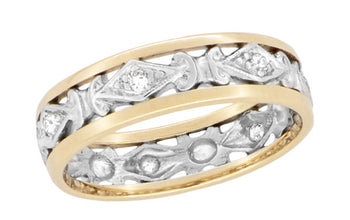 Antique Edwardian Diamond Wedding Band in Platinum and 14K Yellow Gold - Size 8