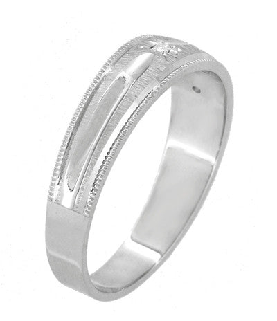 Starburst Diamond Set Wedding Band Ring in 14 Karat White Gold - Item: R1185 - Image: 2