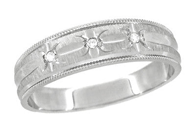 Starburst Diamond Set Wedding Band Ring in 14 Karat White Gold