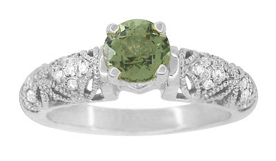 "Art Deco Filigree ""Charlene"" Green Sapphire Engagement Ring with Side Diamonds in 14 Karat White Gold - Item: R1190WGS - Image: 2"