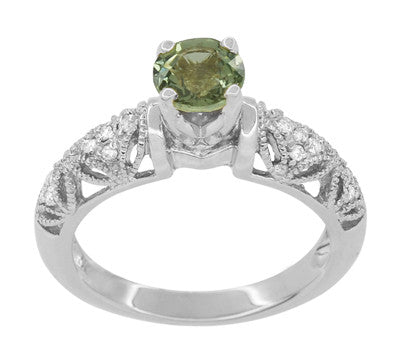 "Art Deco Filigree ""Charlene"" Green Sapphire Engagement Ring with Side Diamonds in 14 Karat White Gold - Item: R1190WGS - Image: 3"