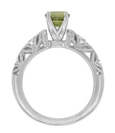 "Art Deco Filigree ""Charlene"" Green Sapphire Engagement Ring with Side Diamonds in 14 Karat White Gold - Item: R1190WGS - Image: 4"