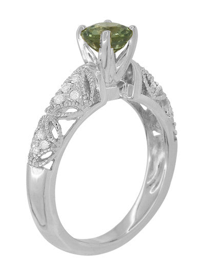 "Art Deco Filigree ""Charlene"" Green Sapphire Engagement Ring with Side Diamonds in 14 Karat White Gold - Item: R1190WGS - Image: 5"