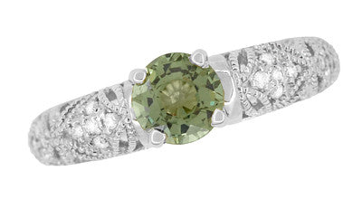 "Art Deco Filigree ""Charlene"" Green Sapphire Engagement Ring with Side Diamonds in 14 Karat White Gold - Item: R1190WGS - Image: 7"