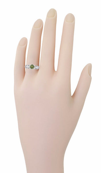 "Art Deco Filigree ""Charlene"" Green Sapphire Engagement Ring with Side Diamonds in 14 Karat White Gold - Item: R1190WGS - Image: 8"