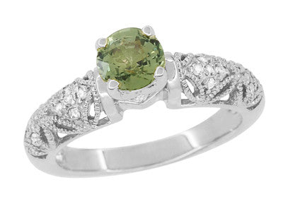 "Art Deco Filigree ""Charlene"" Green Sapphire Engagement Ring with Side Diamonds in 14 Karat White Gold - Item: R1190WGS - Image: 1"