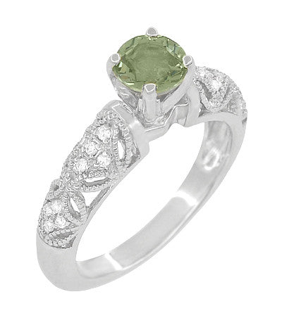 "Art Deco Filigree ""Charlene"" Green Sapphire Engagement Ring with Side Diamonds in 14 Karat White Gold"