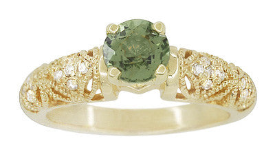 "Art Deco ""Charlene"" Filigree Green Sapphire Engagement Ring in 14 Karat Yellow Gold with Side Diamonds - Item: R1190YGS - Image: 2"