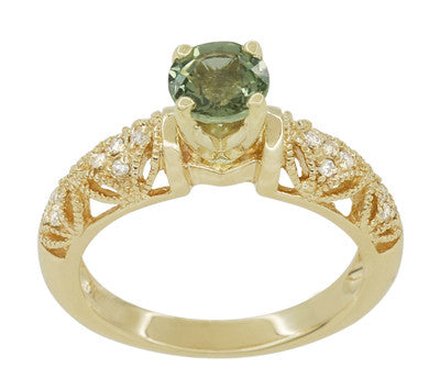 "Art Deco ""Charlene"" Filigree Green Sapphire Engagement Ring in 14 Karat Yellow Gold with Side Diamonds - Item: R1190YGS - Image: 3"