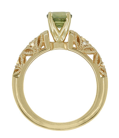 "Art Deco ""Charlene"" Filigree Green Sapphire Engagement Ring in 14 Karat Yellow Gold with Side Diamonds - Item: R1190YGS - Image: 4"