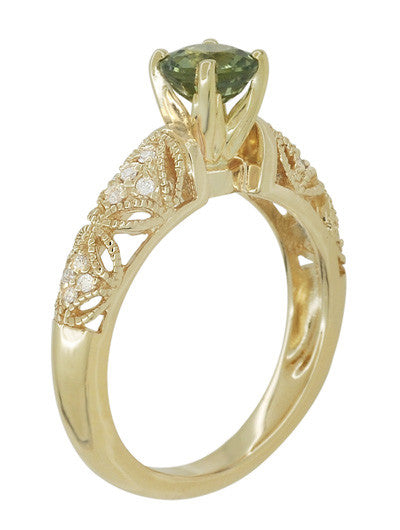 "Art Deco ""Charlene"" Filigree Green Sapphire Engagement Ring in 14 Karat Yellow Gold with Side Diamonds - Item: R1190YGS - Image: 5"