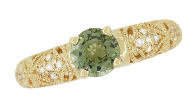 "Art Deco ""Charlene"" Filigree Green Sapphire Engagement Ring in 14 Karat Yellow Gold with Side Diamonds - Item: R1190YGS - Image: 7"