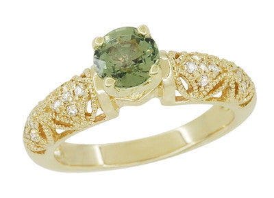 "Art Deco ""Charlene"" Filigree Green Sapphire Engagement Ring in 14 Karat Yellow Gold with Side Diamonds - Item: R1190YGS - Image: 1"