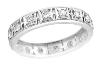 Berlin Art Deco Straightline Antique Platinum Diamond Wedding Band - Size 8.5