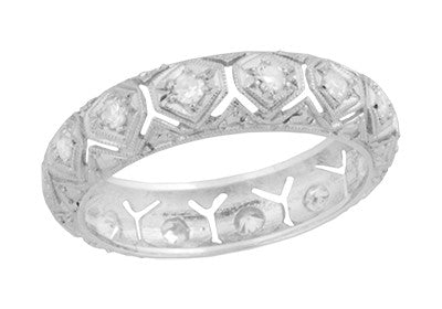 Glenville Art Deco Vintage Heirloom Diamond Wedding Band in Platinum - Size 6 3/4