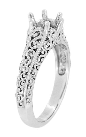 Filigree Flowing  Scrolls Edwardian Engagement Ring Setting for a 3/4 Carat Diamond in 14 Karat White Gold - Item: R1196W - Image: 2