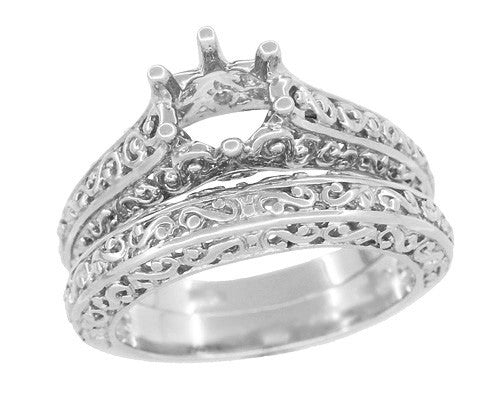 Filigree Flowing  Scrolls Edwardian Engagement Ring Setting for a 3/4 Carat Diamond in 14 Karat White Gold - Item: R1196W - Image: 5