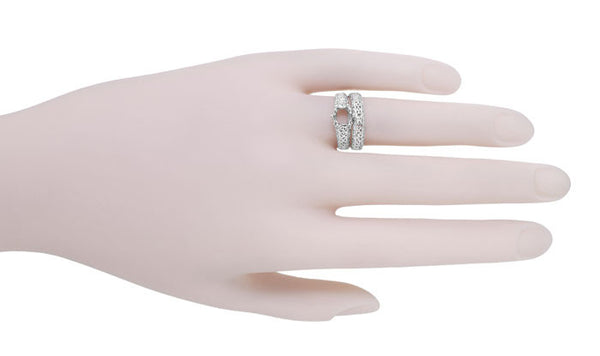 Filigree Flowing  Scrolls Edwardian Engagement Ring Setting for a 3/4 Carat Diamond in 14 Karat White Gold - Item: R1196W - Image: 8