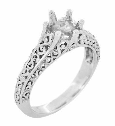 Filigree Flowing  Scrolls Edwardian Engagement Ring Setting for a 3/4 Carat Diamond in 14 Karat White Gold - Item: R1196W - Image: 1