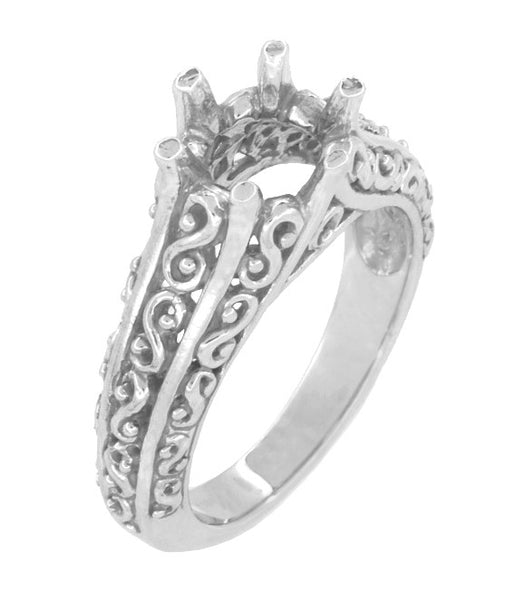Filigree Flowing Scrolls Edwardian Vintage Style Engagement Ring Setting for a 1.25 - 2.00 Carat Diamond in 14 Karat White Gold
