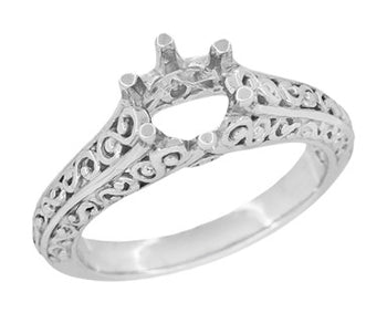 Vintage Style Filigree Flowing Scrolls 1/2 Carat Diamond Engagement Ring Setting in 14 Karat White Gold