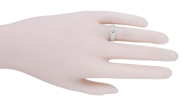 Flowing Scrolls 1/2 Carat Diamond Filigree Edwardian Engagement Ring in 14 Karat White Gold - Item: R1196W50D - Image: 3