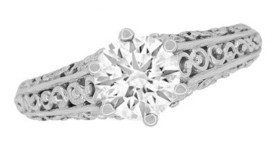 Edwardian Flowing Scrolls Diamond Filigree Heirloom Engagement Ring in 14 Karat White Gold - Item: R1196W75D - Image: 2