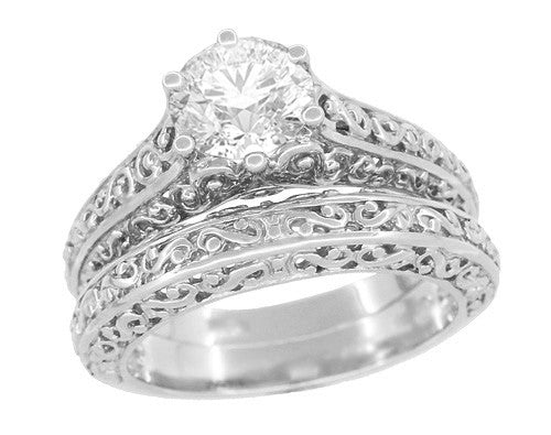 Edwardian Flowing Scrolls Diamond Filigree Heirloom Engagement Ring in 14 Karat White Gold - Item: R1196W75D - Image: 4