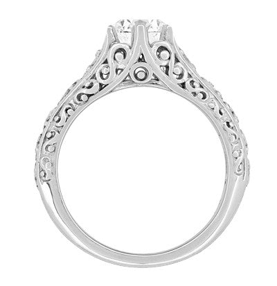 Edwardian Flowing Scrolls Diamond Filigree Heirloom Engagement Ring in 14 Karat White Gold - Item: R1196W75D - Image: 1