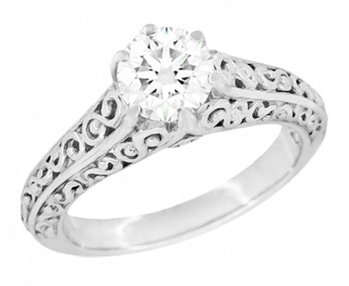 Edwardian Flowing Scrolls Diamond Filigree Heirloom Engagement Ring in 14 Karat White Gold