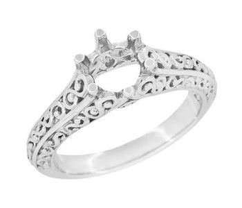 Filigree Flowing  Scrolls Edwardian Engagement Ring Setting for a 3/4 Carat Diamond in 14 Karat White Gold