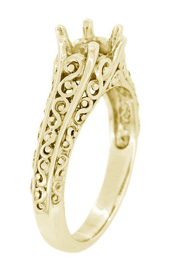 Filigree Flowing  Scrolls Engagement Ring Setting for a 3/4 Carat Diamond in 14 Karat Yellow Gold - Item: R1196Y - Image: 2