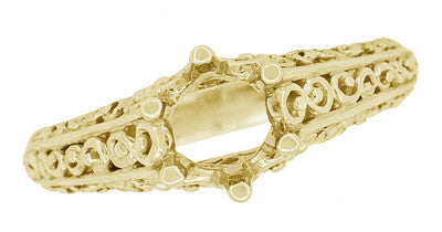 Filigree Flowing  Scrolls Engagement Ring Setting for a 3/4 Carat Diamond in 14 Karat Yellow Gold - Item: R1196Y - Image: 4