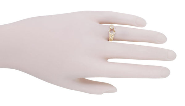 Filigree Flowing  Scrolls Engagement Ring Setting for a 3/4 Carat Diamond in 14 Karat Yellow Gold - Item: R1196Y - Image: 7