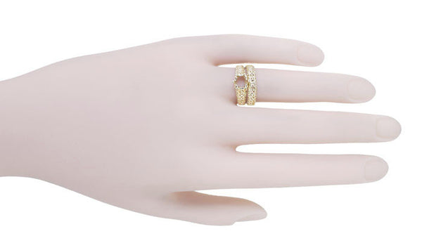 Filigree Flowing  Scrolls Engagement Ring Setting for a 3/4 Carat Diamond in 14 Karat Yellow Gold - Item: R1196Y - Image: 8