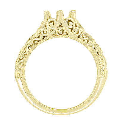 Filigree Flowing Scrolls Engagement Ring Setting for a 1/2 Carat Diamond in 14 Karat Yellow Gold | 5.5mm Round Mount - Item: R1196Y50 - Image: 3