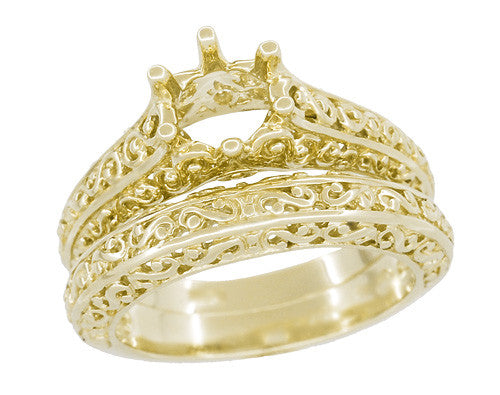Filigree Flowing Scrolls Engagement Ring Setting for a 1/2 Carat Diamond in 14 Karat Yellow Gold | 5.5mm Round Mount - Item: R1196Y50 - Image: 5