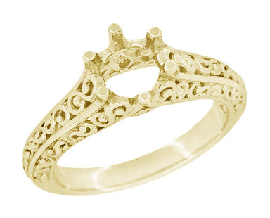 Filigree Flowing Scrolls Engagement Ring Setting for a 1/2 Carat Diamond in 14 Karat Yellow Gold | 5.5mm Round Mount