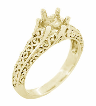 Filigree Flowing  Scrolls Engagement Ring Setting for a 3/4 Carat Diamond in 14 Karat Yellow Gold