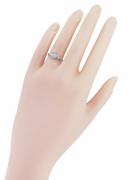 R1207WD Vintage Diamond Engagement Ring on a Hand