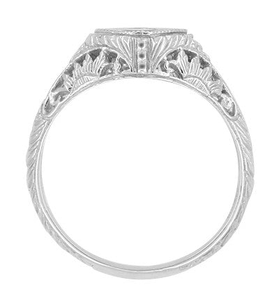 Side Floral Filigree Sculptural Design on Vintage Diamond Engagement Ring with Low Setting