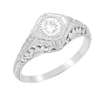Art Deco 1/3 Carat Diamond Sunflowers Filigree Engagement Ring in 14 Karat White Gold