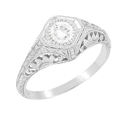 1920s Filigree Low Set Antique Diamond Engagement Ring in White Gold - 1/3 Carat Diamond