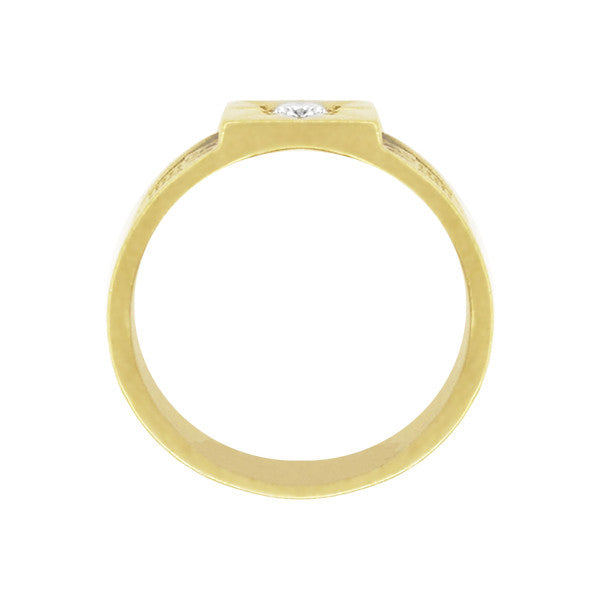 Baxter Victorian Wide Diamond Wedding Band in 14K Yellow Gold - Item: R1212Y14 - Image: 1