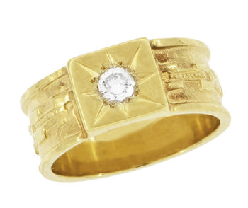 Baxter Victorian Wide Diamond Wedding Band in 14K Yellow Gold